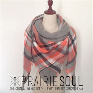 Triangle Blanket Scarf |  Coral + Grey