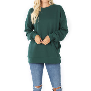 Sweatshirt round neck with pockets