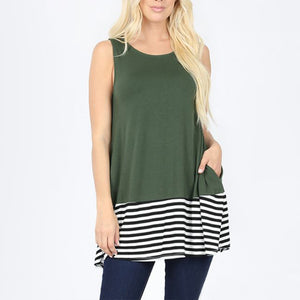 Tunic Bottom Stripes with Pockets