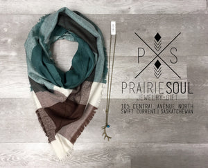 Triangle Blanket Scarf | Mahogany + Turquoise Bliss