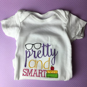 PRETTY and SMART embroidered baby onesie