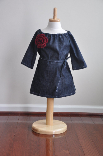Denim Long Sleeve Toddler Dress with Crochet Flower