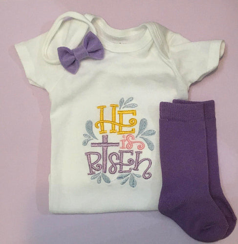 HE IS RISEN embroidered baby onesie