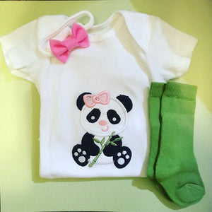 PANDA embroidered baby onesie