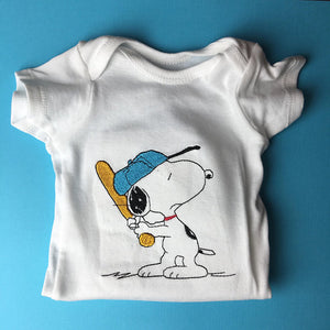 BASEBALL SNOOPY embroidered baby onesie