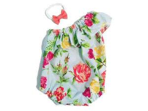 One Shoulder Floral Baby Romper