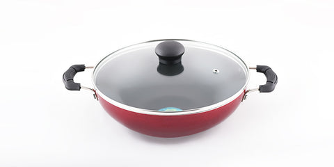 blueberry's non stick  kadai 24 cms with glass lid induction base