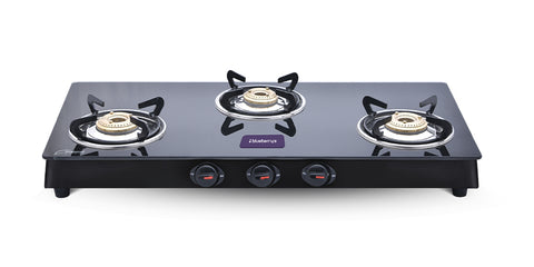 Blueberry's Sparker 3B, 3 Burner Gas Stove, Black Powder Coated MS Body, Quality Brass Burner with Good Fuel Efficiancy, 7mm Thickness (Black)