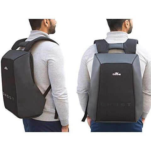 Polyester 22 Ltr Grey & Black Laptop Backpack
