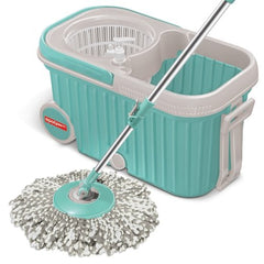 Elite Spin Mop with Bigger Wheels & Auto Fold Handle for 360 Degree Cleaning (Aqua Green, Two Refills)