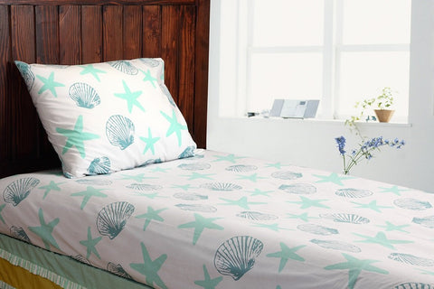 100% Cotton Printed Single Bedsheet & Pillow Cover (2 Piece Set) - Seaside Dreams Theme