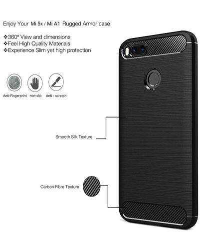 Rugged Ultra Premium Shock Proof Case for MI-5 and Mi-A1 TPU Back Cover Lunar/ Matte Black