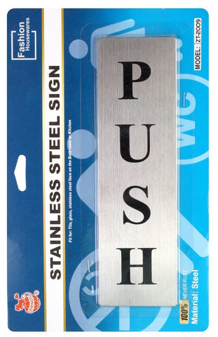 Self Adhesive Stainless Steel Push & Pull Metal Door Signage Board Combo