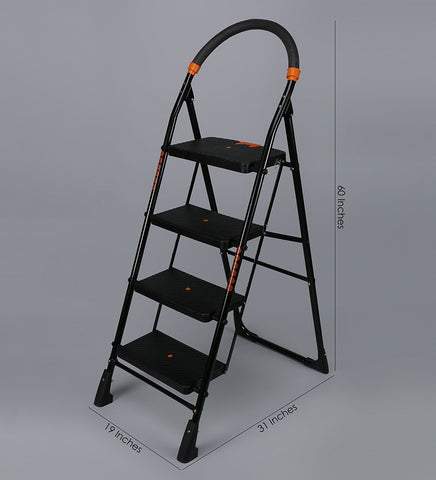 Black Heavy Folding Ladder With Wide Steps Milano 4 Steps 4.1 Ft Ladder (Made In India)