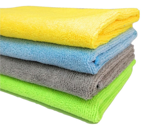 Microfibre Cleaning Cloth - 40 cm x 40 cm - 340 gsm, ( Multicolor, Pack of 4)