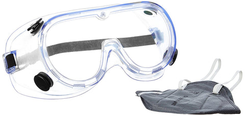 3M 1621+9000IN Chemical Protection Safety Goggles and Dust Respirator Mask Combo