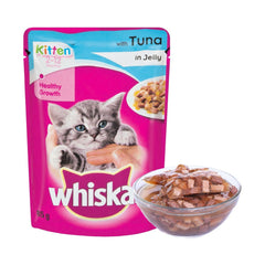 Whiskas Wet Cat Food, Tuna Flavour in Jelly for Kittens (2-12 Months) – 85 g Pouch (Pack of 12)