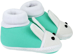 Unisex Baby Green Cotton Booties -Children: S