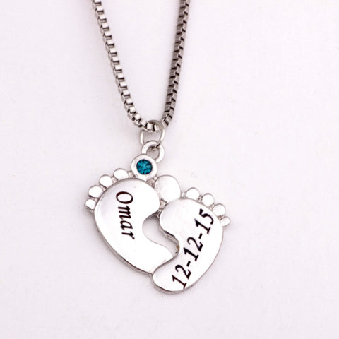 Personalized Baby Feet Pendant Necklace with Birthstones 2018 New Arrival Long Birthstone Necklaces Custom Made Any Name