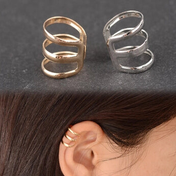retro style hollow U-shaped ear bone clip earrings invisible without pierced ears