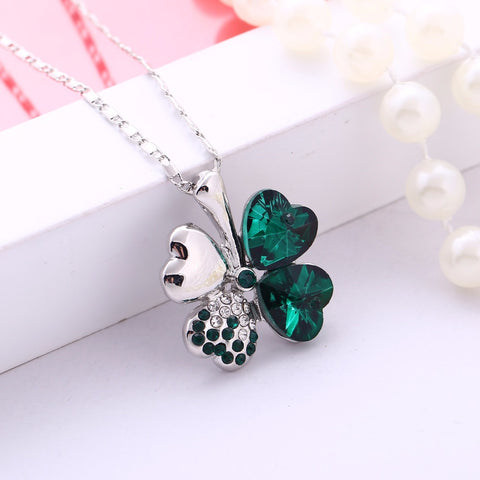 Crystal four Leaf Leaves Clover heart rhinestones necklace pendant jewelry