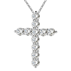 silver plated  necklace jewelry women wedding fashion Cross CZ cr