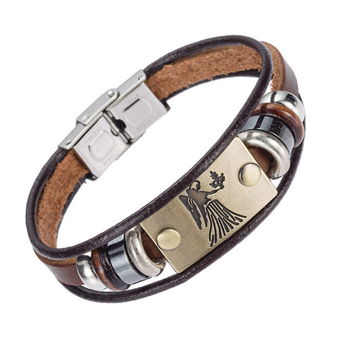 Hot Selling Europe Fashion 12 zodiac signs Bracelet With Stainless Steel Clasp Leather Bracelet for Men