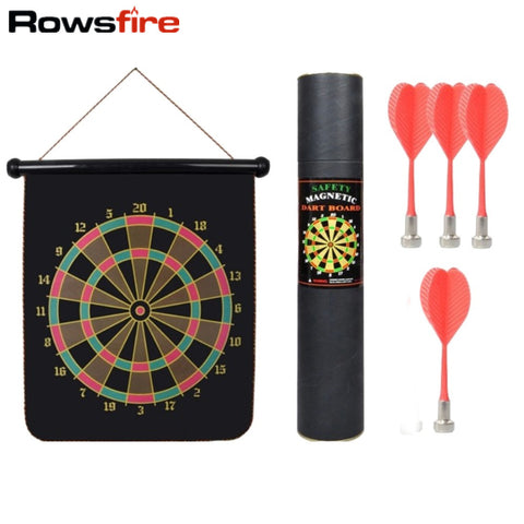 Rowsfire 12 inches Magnetic Roll-up Dart Board Double Sided Hanging Dart Game Six Darts Set with Carry Box