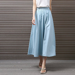 Yichaoyiliang 2017 Summer Vintage Cotton and Linen Midi Skirts Wo