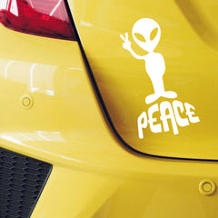 1PC 18.6*9.7CM Victory Alien Peace UFO Stickers Car Styling Anime