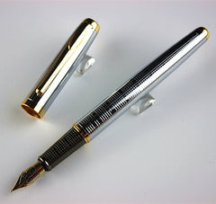 classic  Executive Golden and Silver M Bib Fountain Pen Stationer