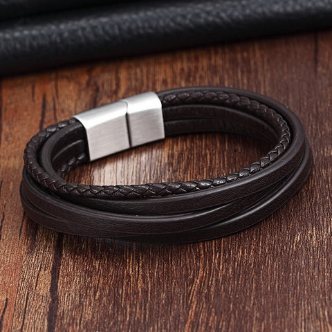 Fashion Stainless Steel Chain Genuine Leather Bracelet Men Vintag