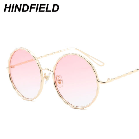 Newst Fashion Big Round Sunglasses Women Pink Transparent Eyewear