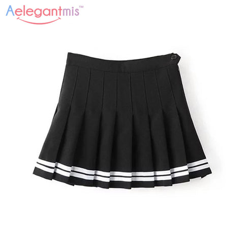 Aelegantmis Sweet Pleated Skirt Women Preppy Style Mini High Wais