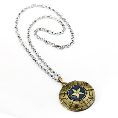 Captain America Necklace The Avengers Rotatable Pendant Fashion Stainless Steel Chain Necklaces Gift Jewelry Accessories