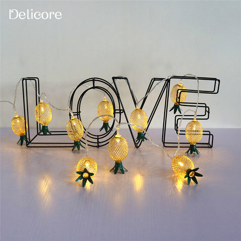 DELICORE Hollow Metal Pineapple LED String Light Battery Operated