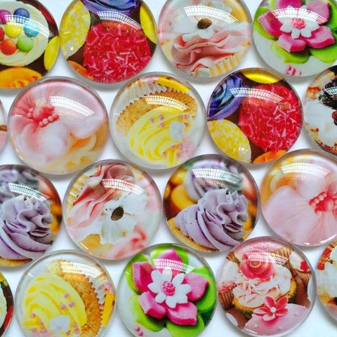 ZEROUP Glass Cabochon 20mm 25mm Mixed Round Photo Cameo Cabochon