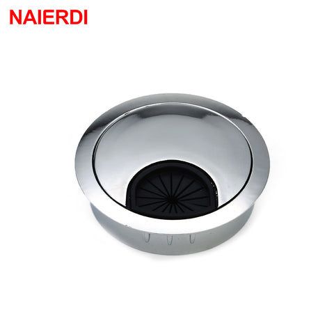 NAIERDI Zinc Alloy 60mm Base Computer Desk Grommet Table Cable Ou
