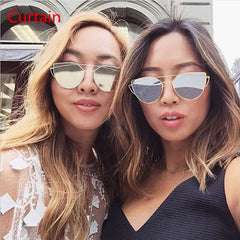 Curtain Cat eye Women Sunglasses 2016 New Brand Design Mirror Fla