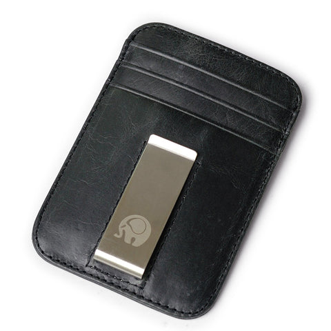 Men money clips vintage genuine leather front pocket clamp for mo