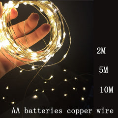 2017 New Year White/ warm white LED String Copper wire 3AA Batter
