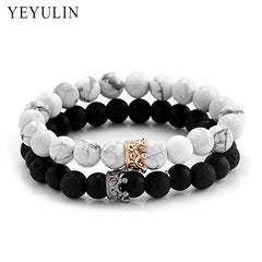 Trendies Black White Stone Beads with Gold Silver Color Alloy Cro