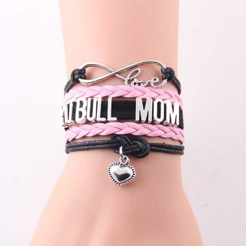 Infinity Love pitbull mom bracelet dog pet paw charm leather wrap men bracelets & bangles for women jewelry