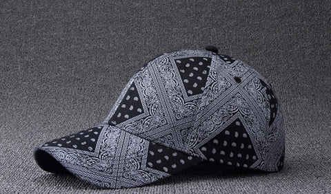 6pcs Fashion Men Black Paisley Baseball Hats 6 Panels for Spring