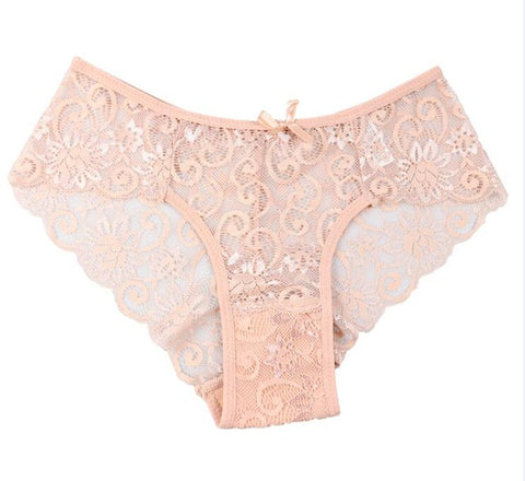 Women Sexy Full Lace Panties High-Crotch Transparent Floral Bow S
