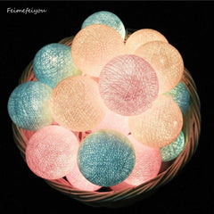 Cotton Ball 20-beads String Lights with US-plug for Wedding Garde
