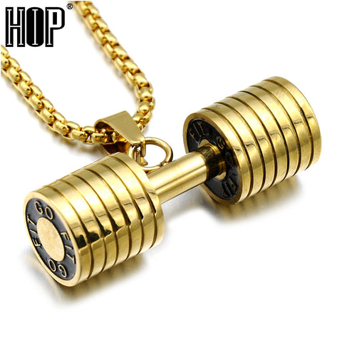 Men Gold Color Titanium Stainless Steel GO FIT Dumbbell Gym Fitness Barbell Pendant Necklaces For Men Sport Jewelry