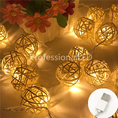 2M Rattan Ball USB 5V 20LED String Light Warm White Fairy Light H