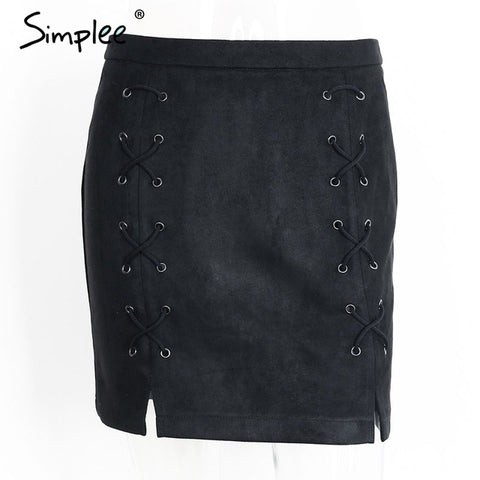 Simplee Autumn lace up leather suede pencil skirt Winter 2017 cro