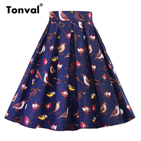 Tonval Retro Cotton Pleated Skirt High Waist Midi School Skirts W